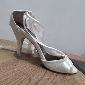 Shoes - [2/$30] Suede Cream Lace Up Ribbons Heels Pumps